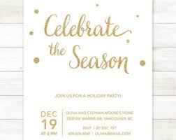 black gold holiday party invitation gold glitter christmas
