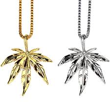 leaf charm necklace images Trendy golden 3d leaves pendant tobacco weed leaf charm necklace jpg