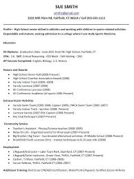 resume samples for high students applying to college