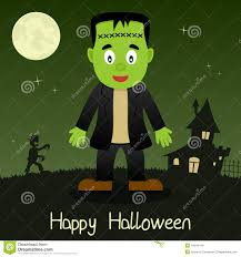 halloween scene clipart frankenstein happy halloween card stock vector image 44645419