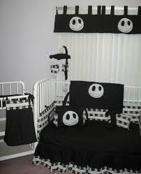 plain white bedroom contrast with black skellington nightmare