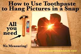 hang pictures without nails hang pictures quickly using toothpaste harvard homemaker