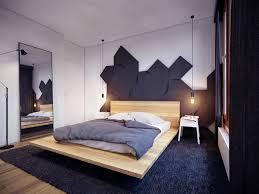 interior design masculine bedroom black wooden stained frame bed