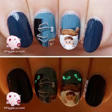 piggieluv afraid of the dark nail art for halloween