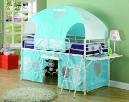 Bunk Bed For Girl by Loft Bunk Bed For Kids With Arched Tent And Hanging Desk Decofurnish