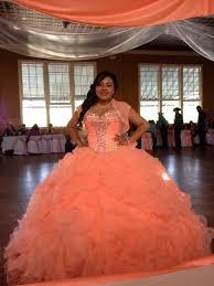 peach organza crystal ball gown quinceanera dresses 2015
