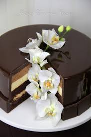 chocolate mirror glaze cake with sugar orchids cakecentral com