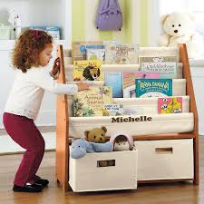 Children S Bookshelf Amazon Com Kids U0027 Sling Bookshelf With Storage Bins Natural