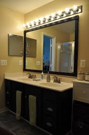 Bathroom Mirror Lights by Impressive Design Ideas Using Rectangular Brown Wooden Vanity