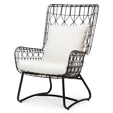 Home Chair Chloe Modern Classic Salt Black Steel Outdoor Wing Chair Kathy