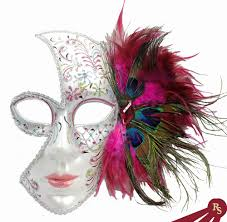 decorative masks pink venetian party mask with feathers