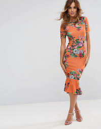orange dress asos asos t shirt orange floral midi dress with pephem