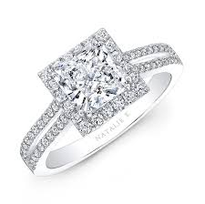 square engagement rings with halo 18k white gold split shank halo engagement