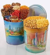skyline snack assortment and popcorn tins