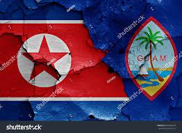 Guam Flag Flag North Korea Guam Painted On Stock Illustration 694486324