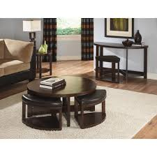 marvelous round coffee table with stools underneath coffee table