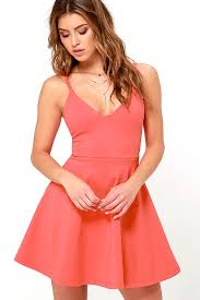 coral red meet cute coral red skater dress womens dresses online