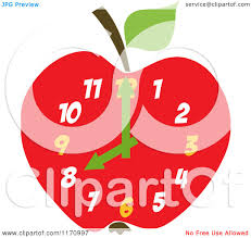 cartoon of a red apple clock royalty free vector clipart by hit