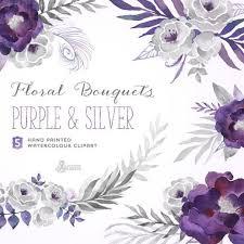 silver flowers purple silver floral bouquets digital clipart painted