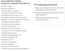funeral planning checklist about pre planning