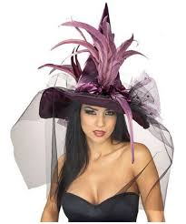 purple feather witch hat hat at wonder costumes