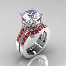 Solitaire Wedding Rings by Classic 14k White Gold 3 0 Ct White Sapphire Ruby Solitaire