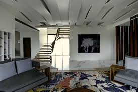 Apartment Stairs Design Sculptural Staircase Defines A Modern Two Storey Apartment In Mumbai