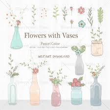 Flowers With Vases Flowers With Vases Flower Clipart Nature Chalkboard Brown