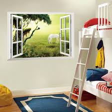 3d window wall art mural sticker white horse on the grassland wall 3d window wall art mural sticker white horse on the grassland wall decoration paper poster sun view window decal sticker 3d window wall art mural sticker