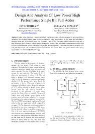 design and analysis of low power high performance single bit full add u2026