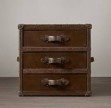Restoration Hardware Nightstands Mayfair Steamer Cube With Drawers In Vintage Cigar Leather From