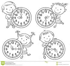 Free Time Worksheets Little Kids Telling Time Set Stock Vector Image 59781284