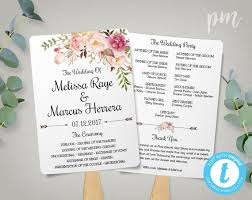 print your own wedding programs wedding program fan template bohemian floral instant