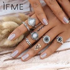 knuckle rings silver images Steampunk bijoux vintage silver color black stone knuckle ring set jpg