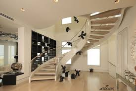Lobby Stairs Design Modern Curved Staircase Glass Railing Design Ideas Amepac Furniture