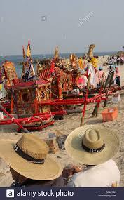 Sedan Chairs Sedan Chairs On The Beach For The Wang Yeh Festival Stock Photo