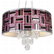 Drum Pendant Chandelier With Crystals Modern Drum Shaped Crystal Led Pendant Lighting