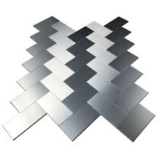 32 pcs peel and stick kitchen backsplash adhesive metal tiles for