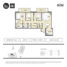 floor plans act one act two dubai opera district downtown by emaar 3 bed act one act two 3 bed floor plan type 3 bd 02d unit 09