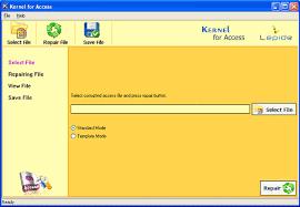 product screenshots of kernel for access repair software tool