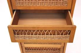 Chest Of Drawers With Wicker Drawers French Wood U0026 Wicker Chest Of Drawers 1970s For Sale At Pamono