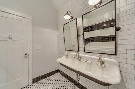 kids bathroom trough sink with 3 faucets transitional bathroom