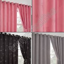 Silver Purple Curtains Thermal Blackout Diamante Butterfly Eyelet Ring Top Curtains Black