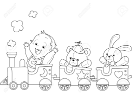 illustration of a ready to print coloring page featuring a baby