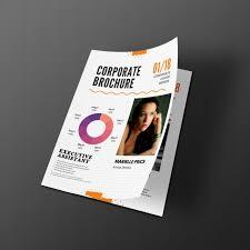 a4 size half fold brochure design front psd mockup template free