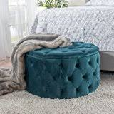 amazon com round ottoman blue this round tufted ottoman features