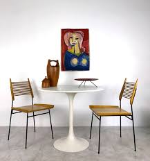 vintage mid century modern 36 round tulip dining table by burke