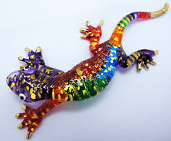 amazon com beautiful art color hand blown glass gecko lizard
