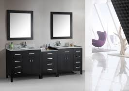 Black Mirror Bathroom by Black Wooden Vanity With Two Legs And White Bowl Sink Placed On