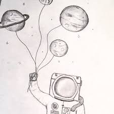 drawn astronaut doodle pencil and in color drawn astronaut doodle